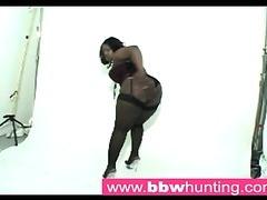Hawt ebony BBW teasing a big butt paramour