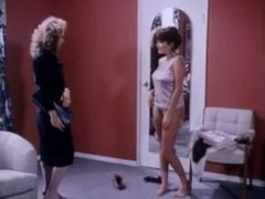 Women with sexy natural tits fool around in retro video