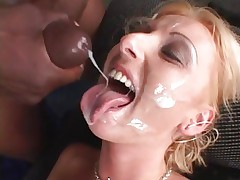Tracey Lane gets her face showered in hot cum