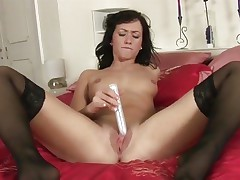 Tess Lyndon toy fucks her soaking wet snatch