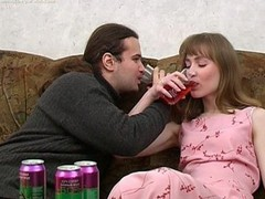 Ivan and Nelly are enjoying wine coolers that are made specifically to get a slut drunk and the chick drinks down as much as that guy gives her. The more this chab pours the more that babe drinks and when this chab peels a banana for her to eat this babe can't assist but oblige his nasty desires. When a chick chews a phallic fruit in such a lusty manner it's bound to get a guy all excited and aroused. A little more liquor and this guy's ready to make his move with this sexy slut. That Babe gives him head and then this guy pounds her fur pie missionary and doggy style. It's great drunk hardcore sex for sure