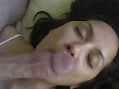 Submissive wife licks cock and balls and gets cum treat