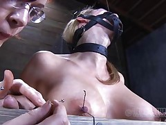 Look at this fucking cheap whore, probably that babe was waiting for some old fashioned ass whipping and face hole fucking. Maybe that babe will acquire some of that later but now, the breasty sex thrall is going to experience something more intense. With precision and skill they tie her nipples and fingers with wire, wanna know why?