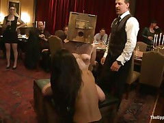 Odile, Lyla Storm, and Katharine Cane are all for the enjoyment of the guests at this party. Katharine has a box on her head and is asking to cum. Lyla gets fingered in both holes and vibed on her clit. It's an elegant fuckfest for those brunette babes, pained or gratified at the whims of the guests.
