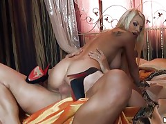 Look at this gorgeous blonde babe with her big tits, her hot ass and her sexy body getting fucked by that guys huge cock. Look at her breasts bounce while she is riding that hard penis and listen to her screaming of pleasure. Is he going to cum inside her tight pussy or will he fuck her dirty mouth