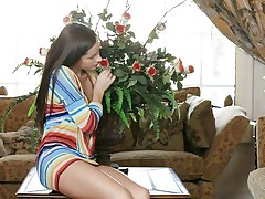 Zaya is a fucking hot russian babe and she can't imagine a day without dose of sexual pleasure. Her white milky skin and attractive body is enough to make any one's hard. Look here how uncontrolled she is and how she is gently squeezing her nice natural boobs and playing with her cherry like hard nipples.