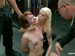 Slutty redhead Claire enjoys being abased in public. She sits on her knees with a vibrator on her cunt and is awaiting for more commands from the people who are watching her. A strong men makes her mouth suck his large hard dick, then puts her on a chair and starts fucking that soaked pussy. Check it out!