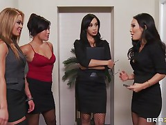 These four hot babes are going to make an offer to their boss her indeed can't refuse. See how the 1st one goes and and takes her garments off and shows her large tits the same like the rest of them. They show him how hard they can work as group sucking his hard shlong and making him cum.