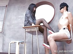 Brunette teacher likes treating her bad students with her feet. She got this one tied on a chair, blindfolded him and rubbed his cock with her feet. The treatment she gives him will surely make him a better student and perhaps he will repay her with a deep hard fuck.