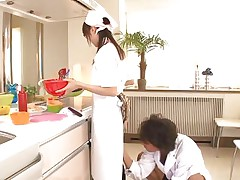 18 yo Japanese chick Asuka does her job in the kitchen when this dude begins playing with her cunt. That babe tries to ignore him and continues cooking but that sextoy he uses makes things very difficult for the pretty asian girl. What do u think, is that babe nice at fucking as that babe is at cooking?