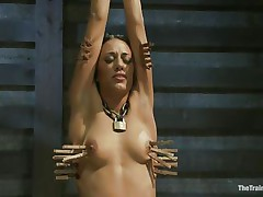 Hispanic girls are hot and the fact that Lyla is tied and punished makes her even hotter. Her executor putted clothespins on her body and he rubs her clitoris with a vibrator making her scream with pain and pleasure. She loves it and her tight body barely handles all that stimulation. Will she get fucked too?