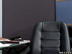 Watch this hot babe entering her bosses office asking for some money. Look at her big tits and her juicy lips sucking that big cock. Suddenly his wife comes in and he freaks out but the horny slut still doesn't want to leave. Is she going to get some extra money?