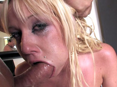 Cockhungry golden-haired is ready for real deepthroat action
