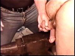 Hot muscle stud Derek Da Silva acquires balls bashed on steel anvil.