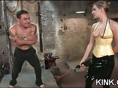 Domination tart drills a chap with a strap-on