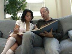 Horny Schoolgirl Andrea Kelly Fucks Her Stepdad's Big Cock