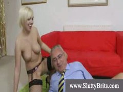 Stocking wearing youngster gets creampie by old depraved man
