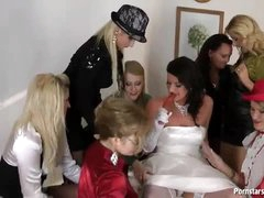 A bride and her sexy dressed friends get wicked